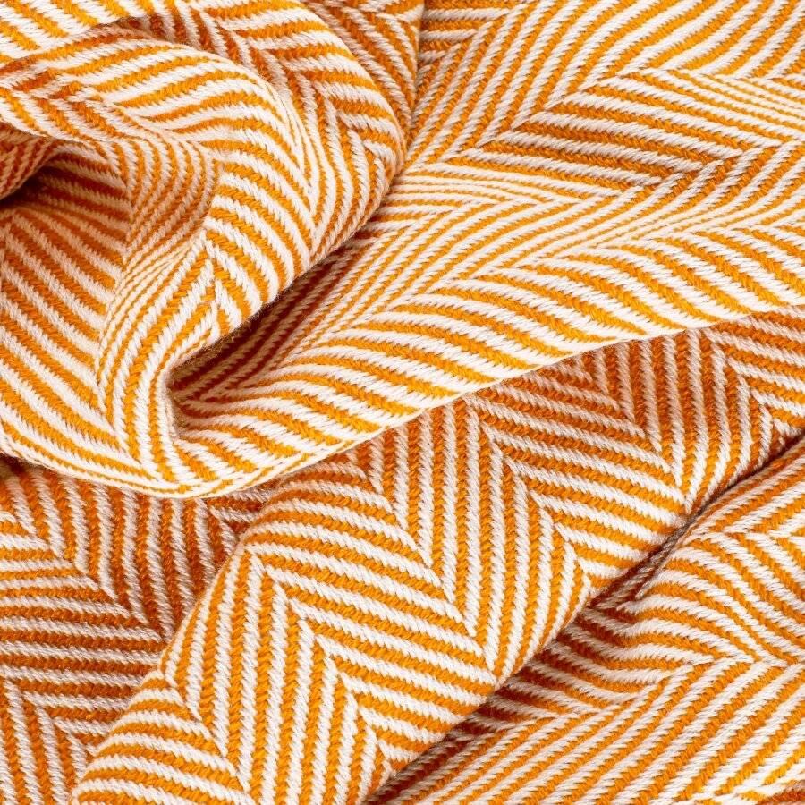 Herringbone Soft & Lightweight Wool Feel Acrylic Sofa Throw - Ochre