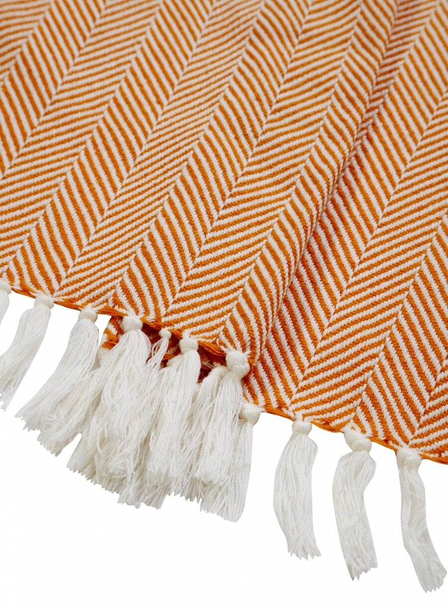 Herringbone Lightweight Soft Warm Wool  Feel Acrylic Throws for Sofa-Ochre