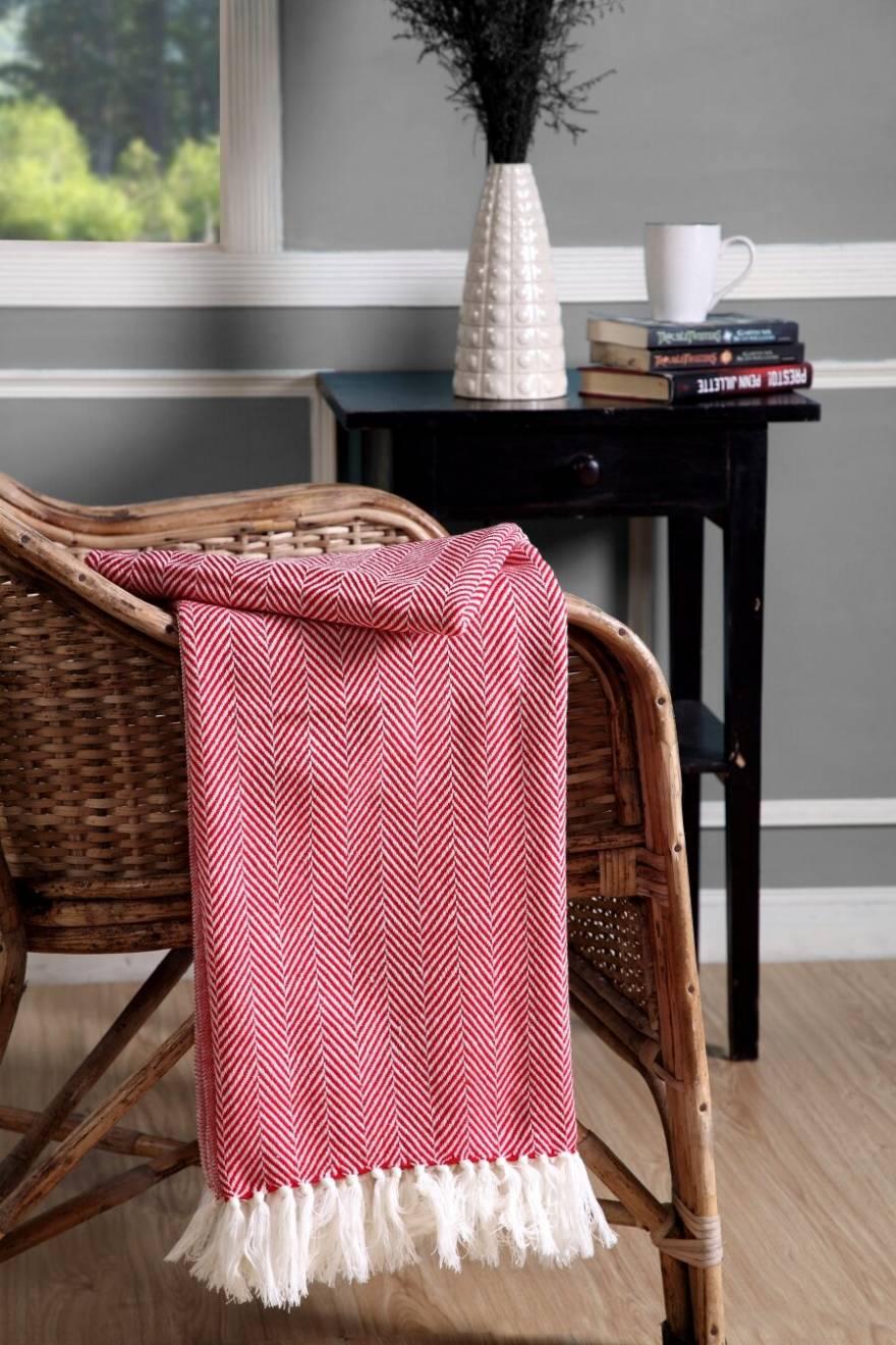 Herringbone Soft & Lightweight Wool Feel Acrylic Sofa Throw - Red