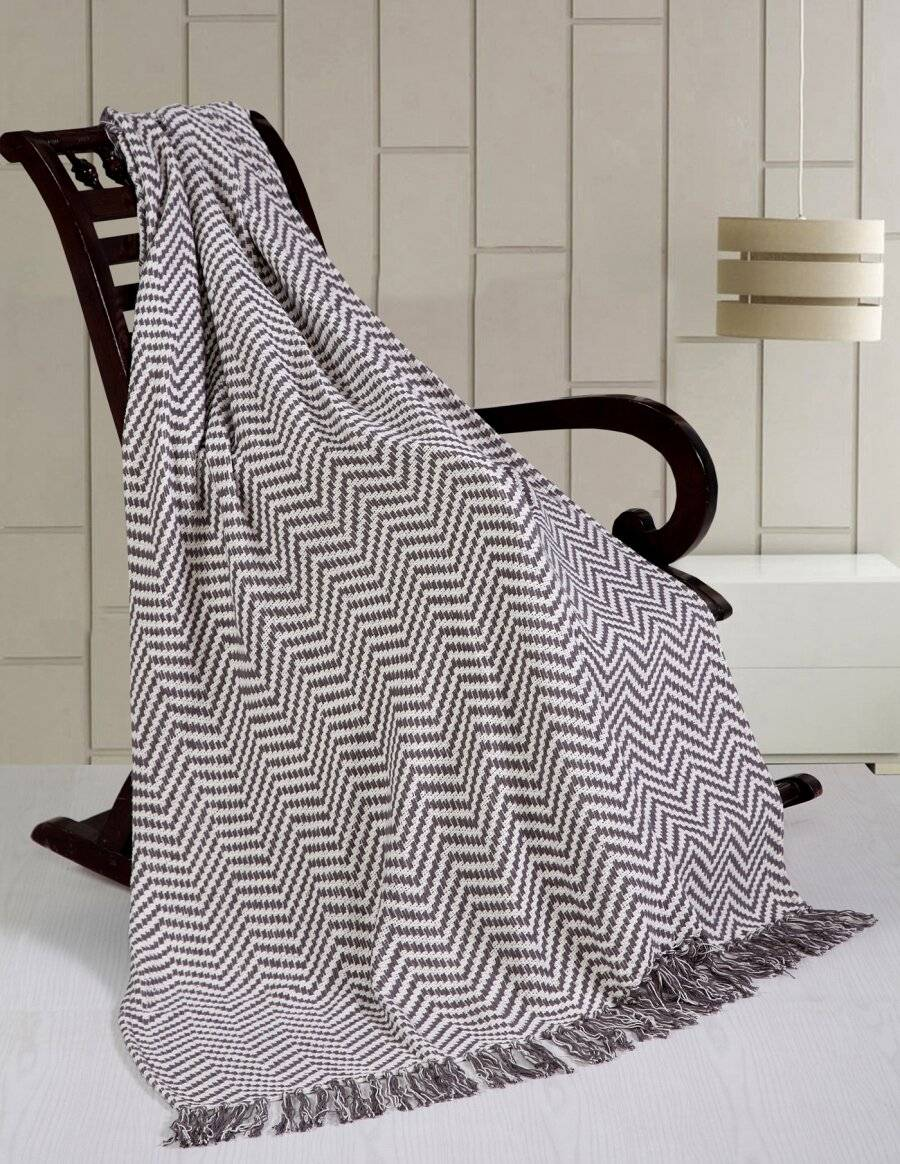 Herringbone Soft Sofa Throw Or Single Bed Cover- Grey
