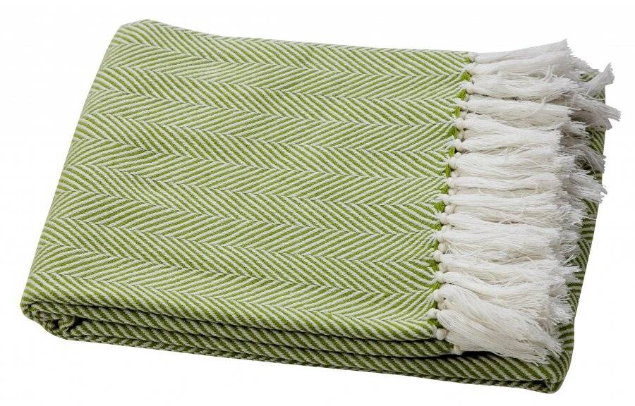 Herringbone Soft Warm Wool  Feel Acrylic Throws for Sofa-Lime Green