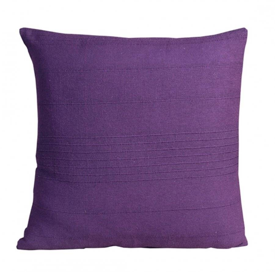 "Indian Classic Rib Cotton Cushion cover 18"" x 18"" Inches - Purple"