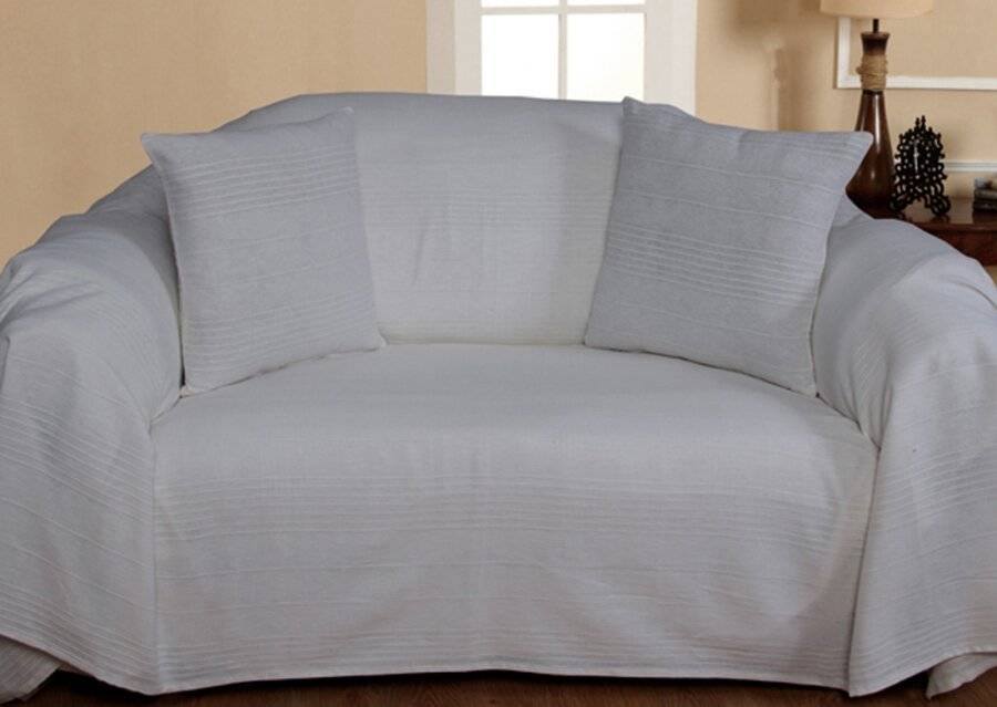 Indian Classic Rib Cotton Throw,For 3-4 Seater Sofa or King Size Bed-Ivory