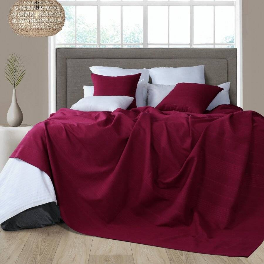 Indian Classic Rib Cotton Throw,For 3-4 Seater Sofa or King Size Bed-Wine