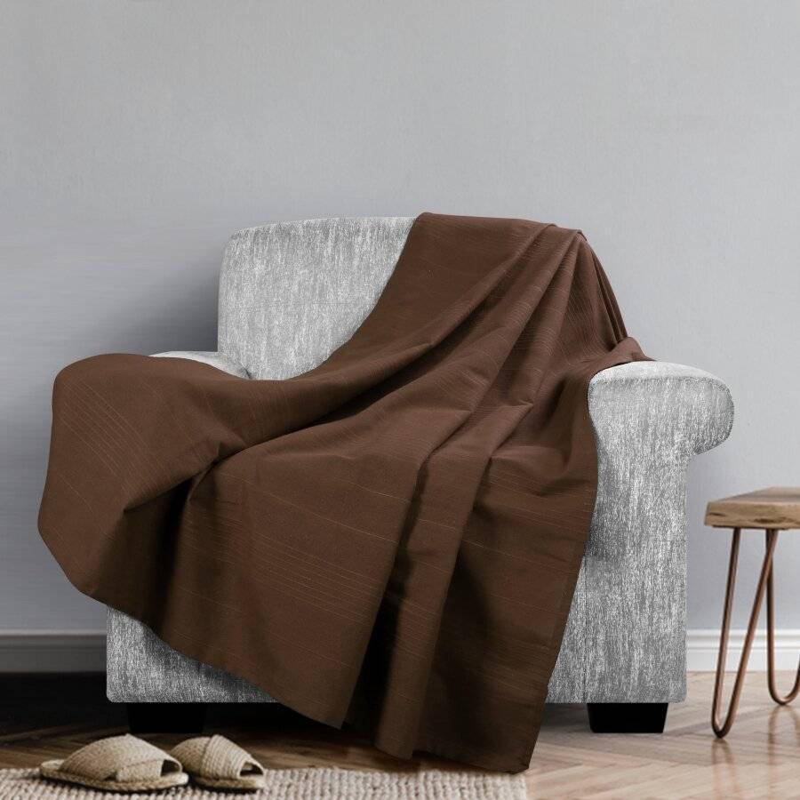 Indian Classic Rib Cotton Throw , For Arm Chair & Single-Chocolate