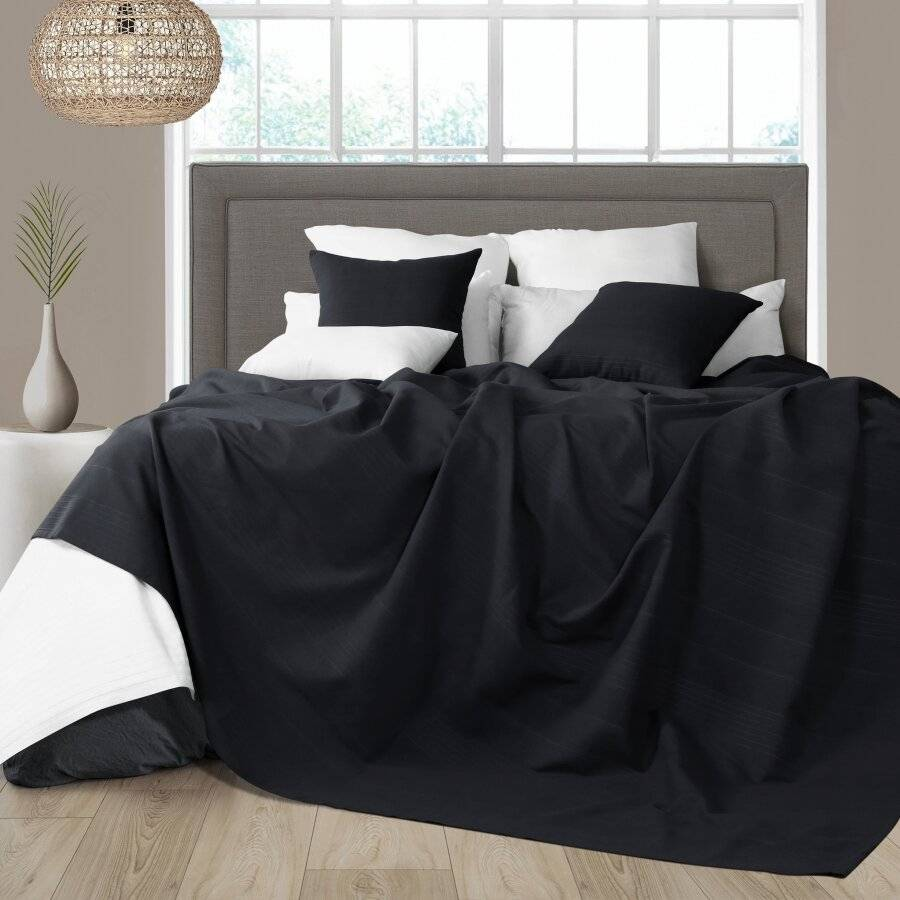 Indian Classic Rib Cotton Throw, For Super King Size Bed - Black
