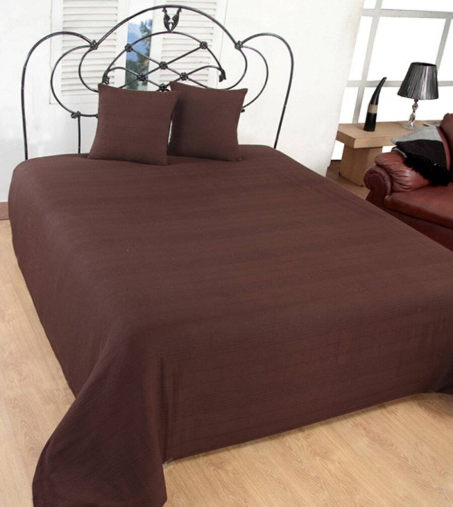 Indian Classic Rib Cotton Throw, For Super King Size Bed - Chocolate