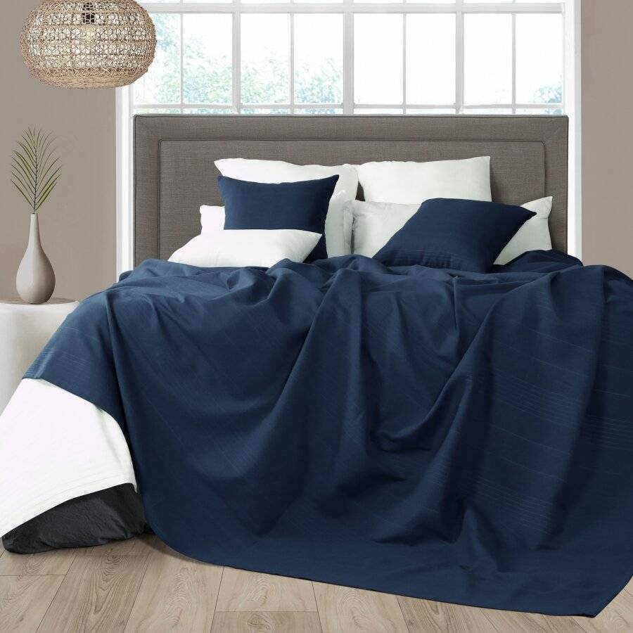 Indian Classic Rib Cotton Throw, For Super King Size Bed - Navy Blue