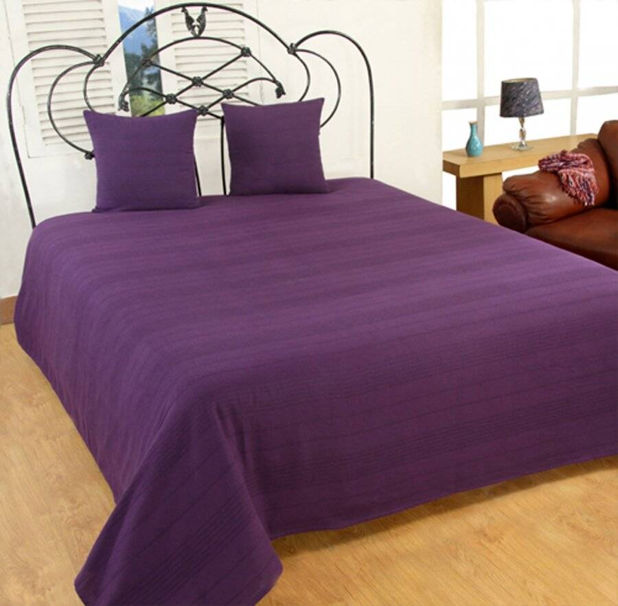 Indian Classic Rib Cotton Throw Or Bedspread, For Arm Chair & Single-Purple