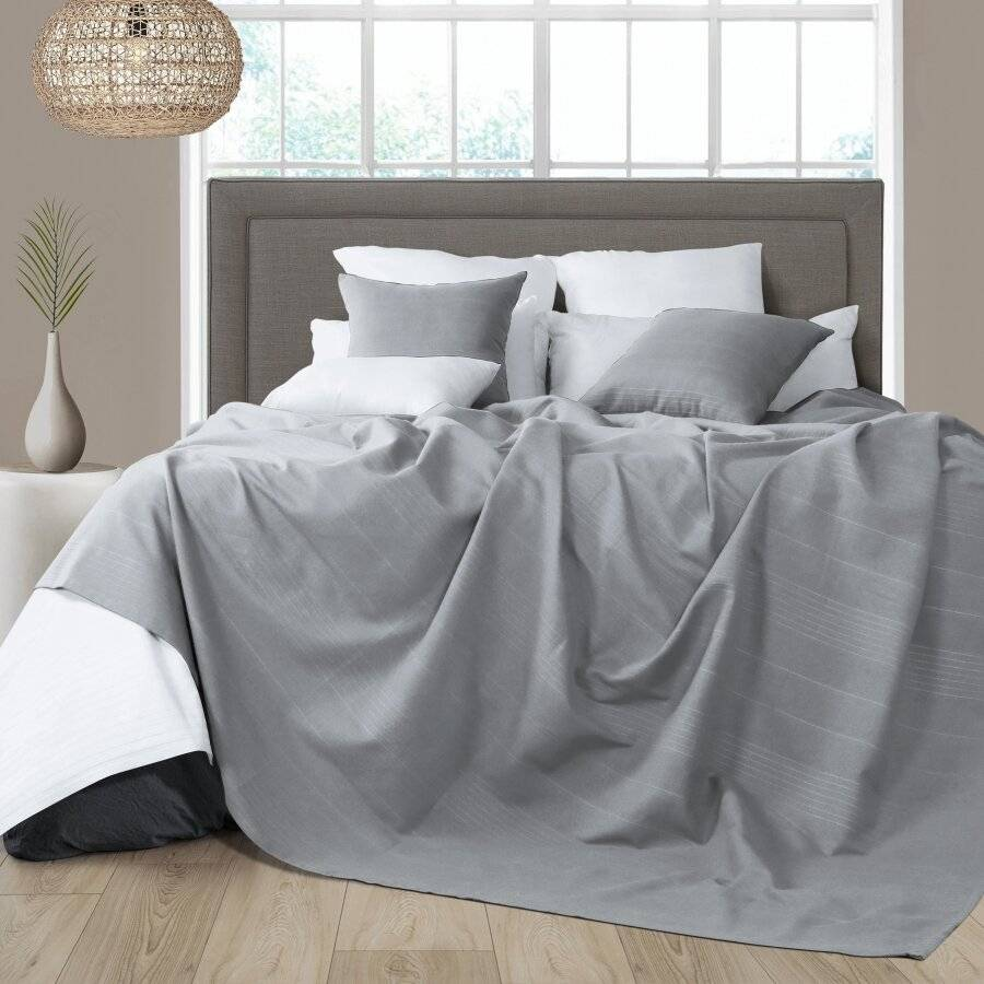 Indian Classic Rib Cotton Bedspread, For Armchair & Single Bed - Smoke