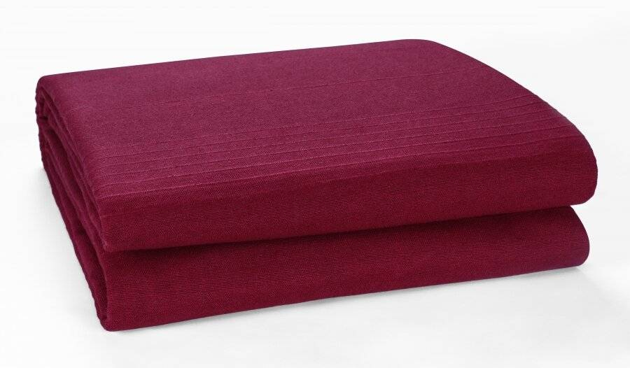Indian Classic Rib Cotton Bedspread, For Armchair & Single Bed - Wine