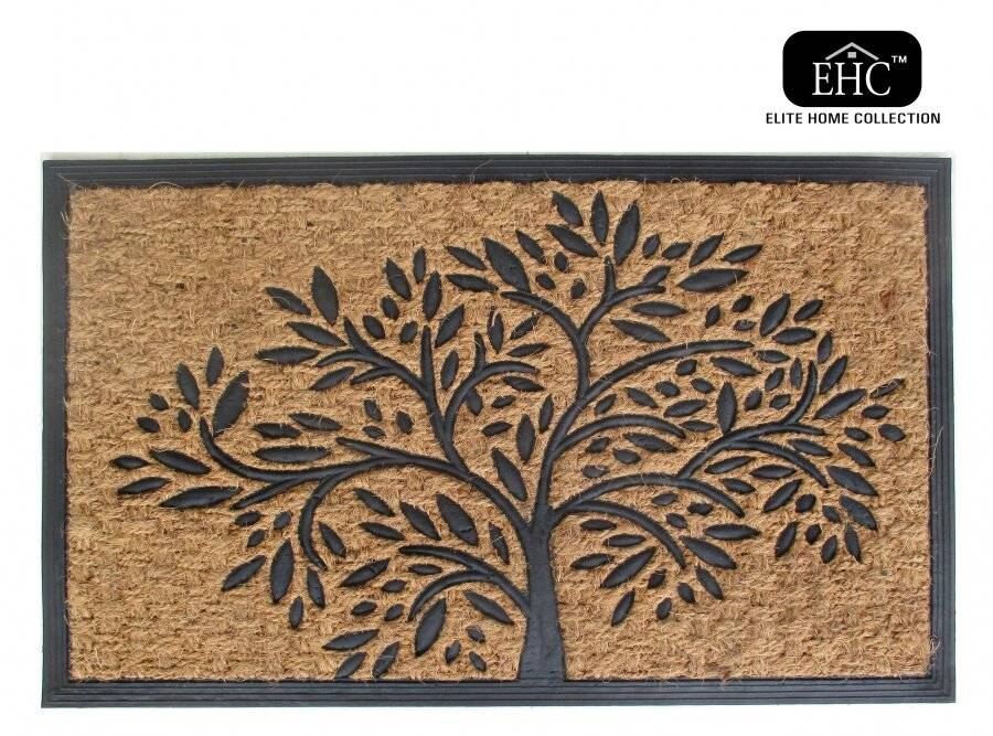 Infinity Tree Patterned PVC Backed Entrance Coir Mat - Natural & Black