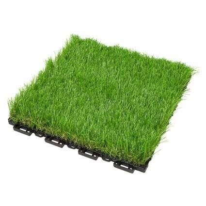 Interlocking UV Resistant Artificial Turf Grass Tiles Pack of 4