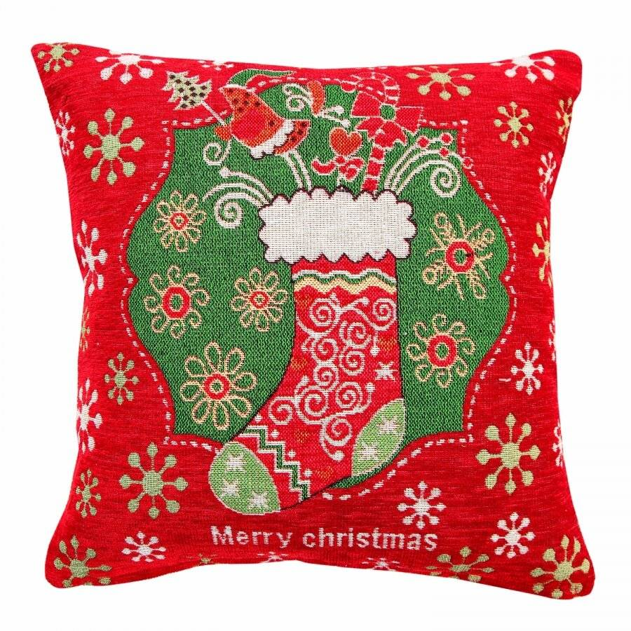 Jacquard Tapestry Chenille Festive Xmas Stocking Cushion Cover