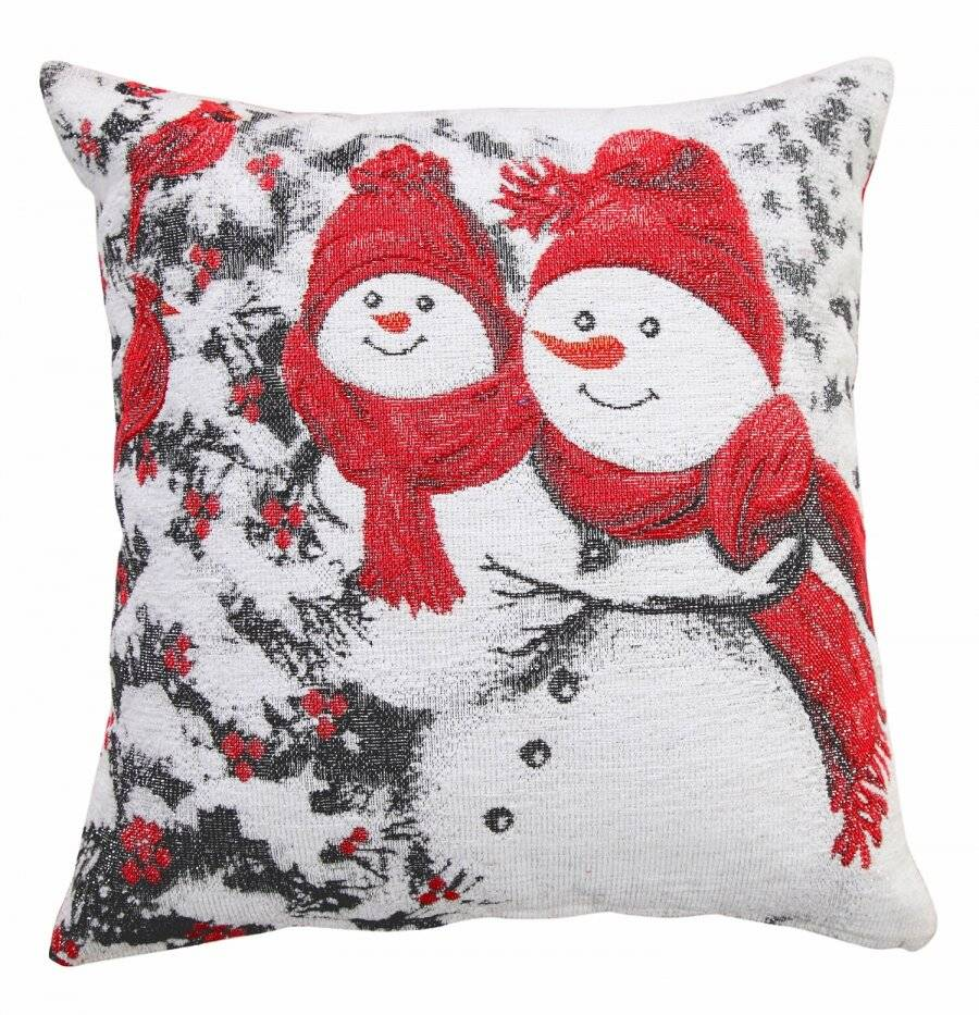 Jacquard Tapestry Chenille Glittered Xmas Snowman Cushion Cover-45 x 45cm