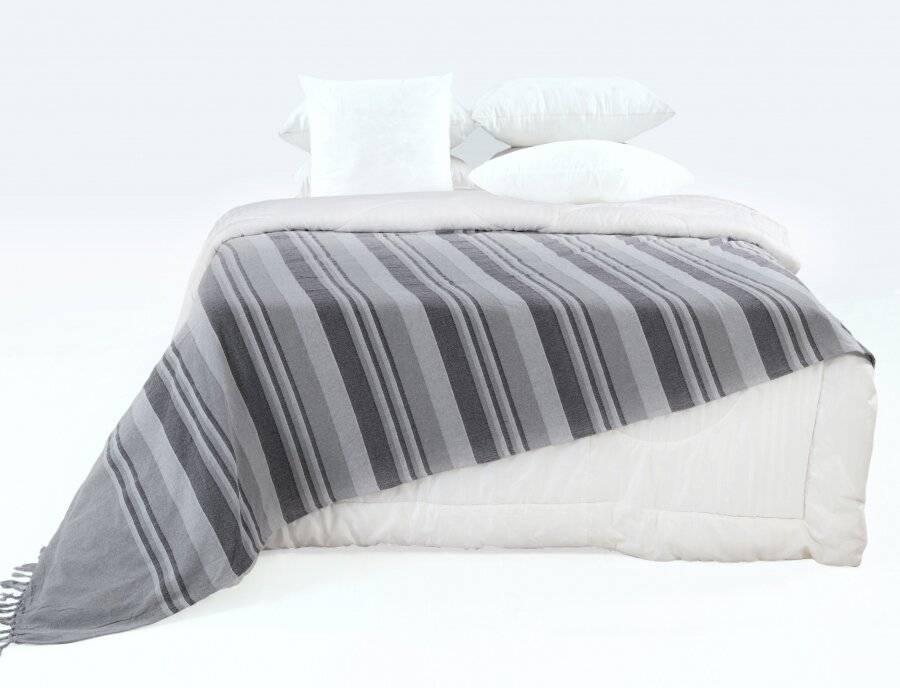 Kerala Pattern Stripe Cotton King Size Throw, Grey - 150 x 200 cm