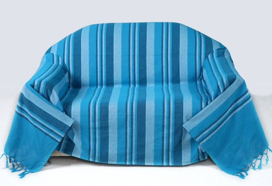 Kerala Pattern Stripe Cotton King Size Throw, Teal - 150 x 200 cm