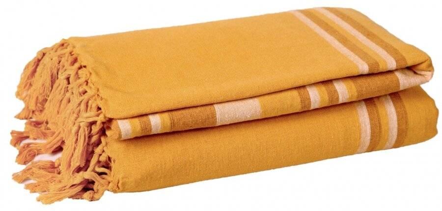 Kerala Pattern Stripe Cotton King Size Throw, Yellow  - 150 x 200 cm