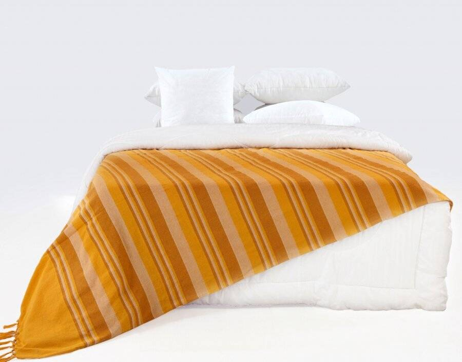 Kerala Pattern Stripe Cotton King Size Throw, Yellow - 220 x 250 cm