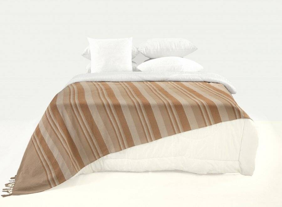 Kerala Pattern Stripe Cotton Single Size Throw, Beige - 150 x 200 cm