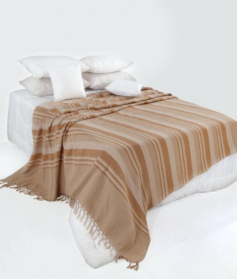 Kerala Pattern Stripe Cotton Super King Throw, Beige - 250 x 380 cm