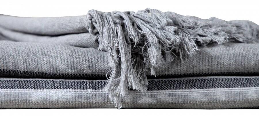 Kerala Pattern Stripe Cotton Super King Throw, Grey - 250 x 380 cm