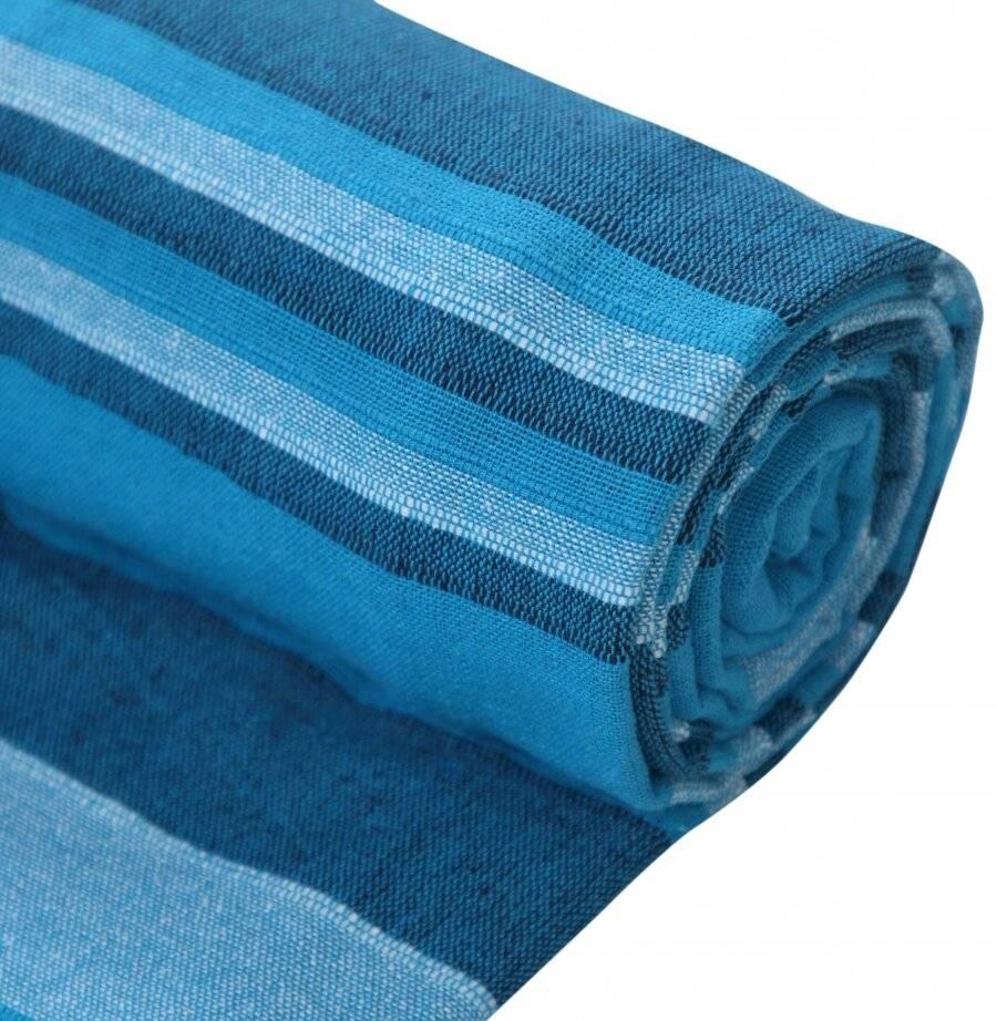 Kerala Pattern Stripe Cotton Super King Throw , Teal - 250 x 380 cm
