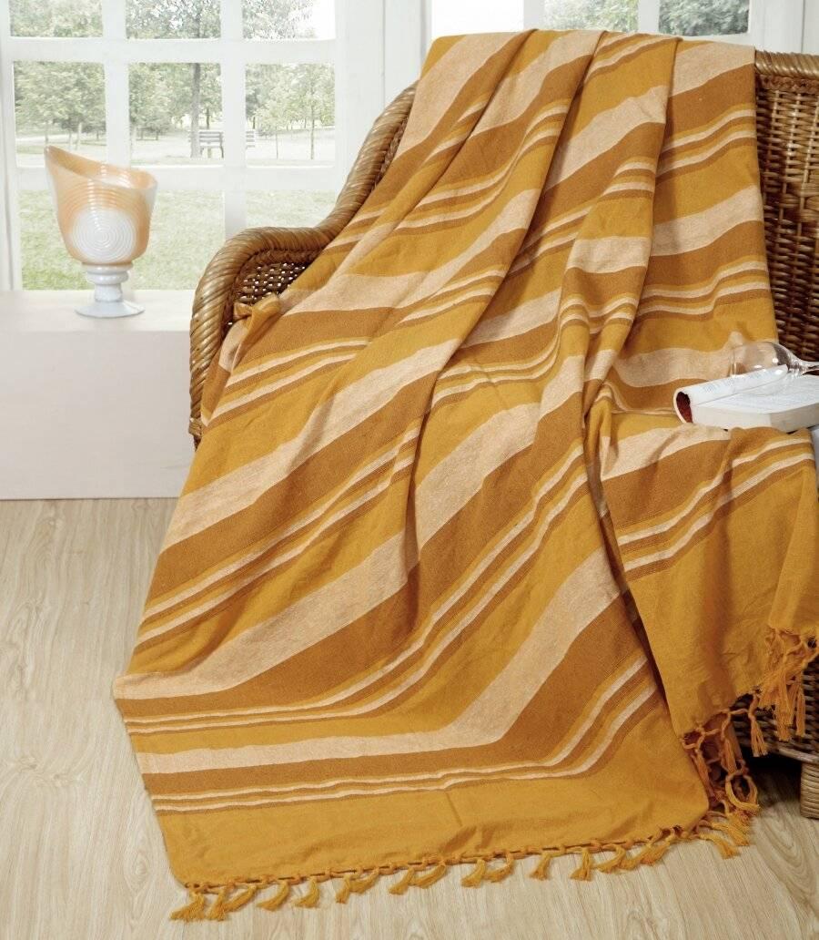 Kerala Pattern Stripe Cotton Super King Throw, Yellow - 250 x 380 cm