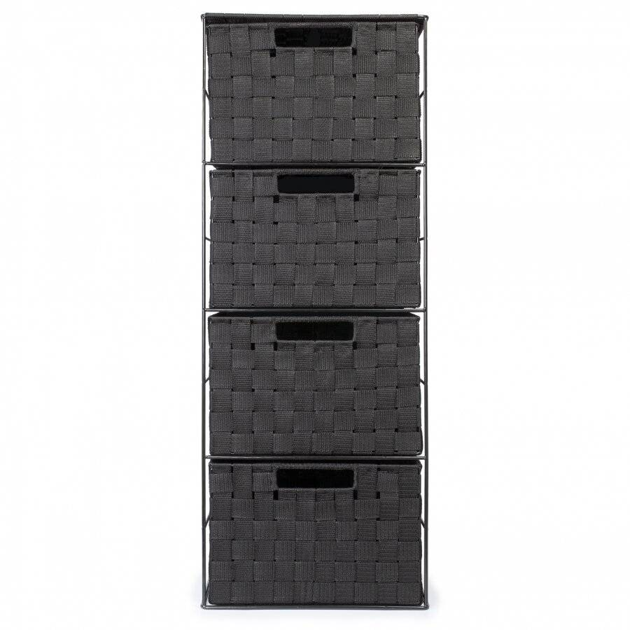 Large Four Drawer Storage Cabinet For Bedroom, Bathroom, Black