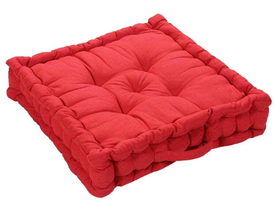 Large Quilted Booster Cushions/Chair Pad 40 x 40 x 10 cm  - Red