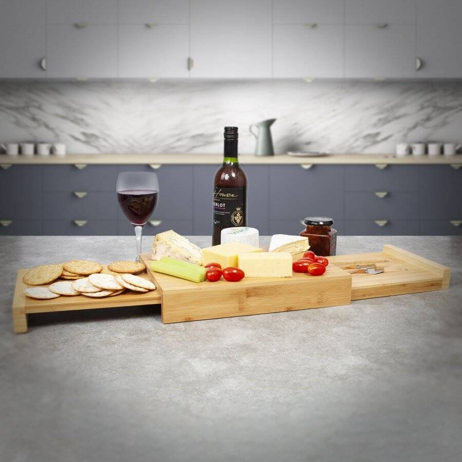 Large Rectangular Wooden Expandable Cheese Board With  Drawer