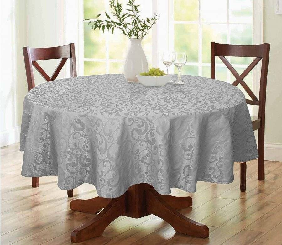 Large Round Scroll Table Cloths Cover,For Parties & Wedding-Grey