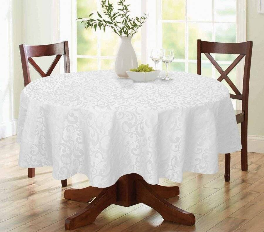 EHC Large Round Scroll Tablecloth Cover, For Parties & Wedding - White