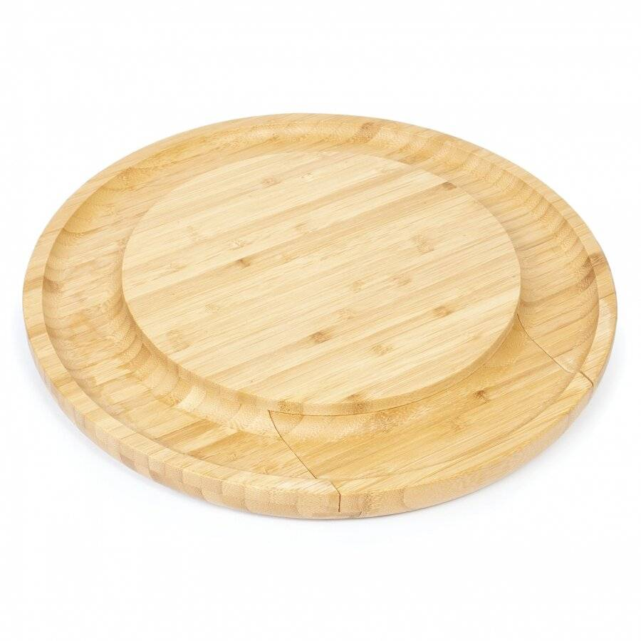 Large Round Wooden Expandable Cheese Board Set With Integrated Drawer