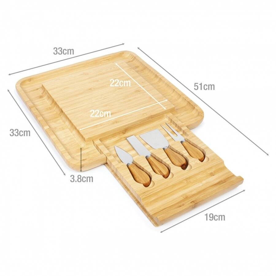 Large Square Wooden Expandable Cheese Board With Drawer