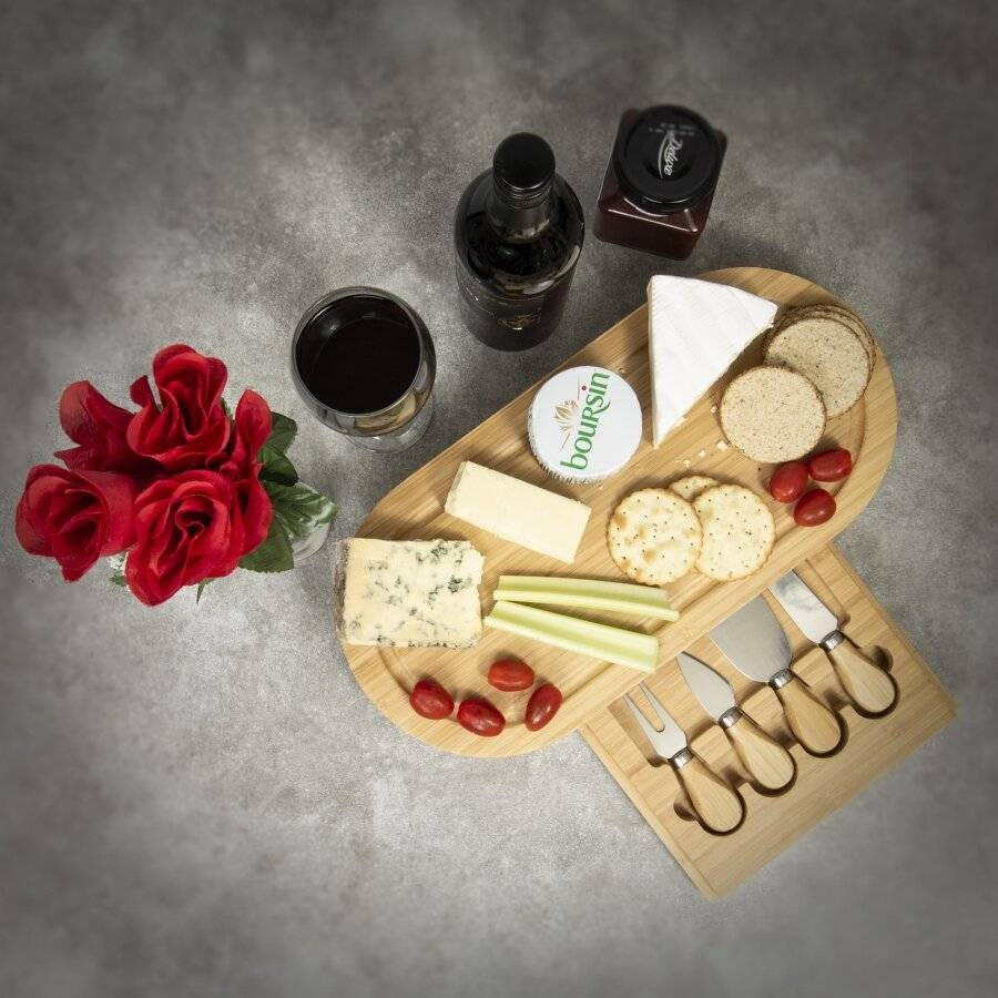 Large Oval Cheese Board Set With Integrated Drawer and 4 Cheese Knives