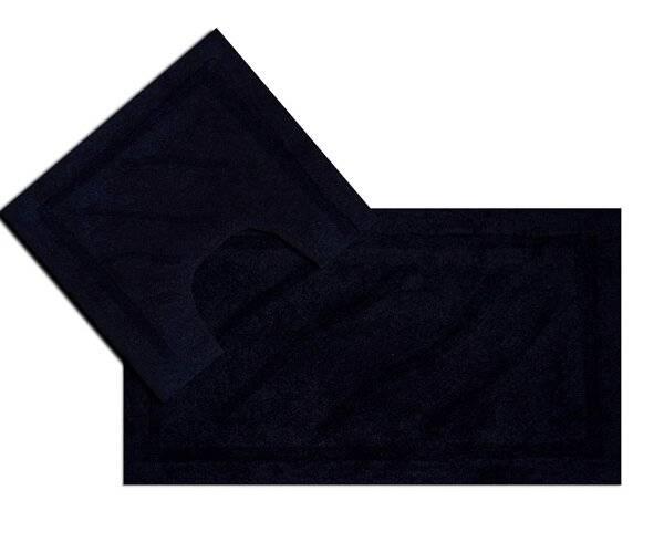 Luxurious 2 Piece Cotton Bath Mat and Pedestal Set - Black