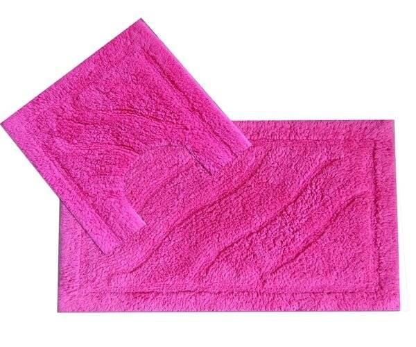Luxurious 2-Piece Cotton Bath Mat and Pedestal Set-Hot Pink
