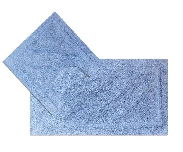 Luxurious 2 Piece Cotton Bath Mat and Pedestal Set - Sky Blue