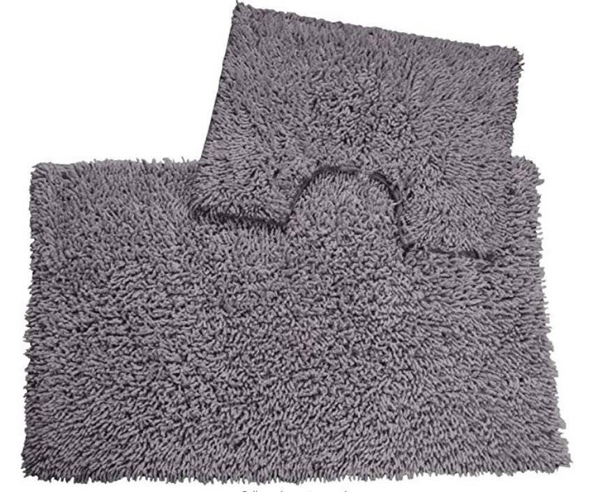 Luxurious 2 Piece Cotton Bath Mat and Pedestal Set - Smoke