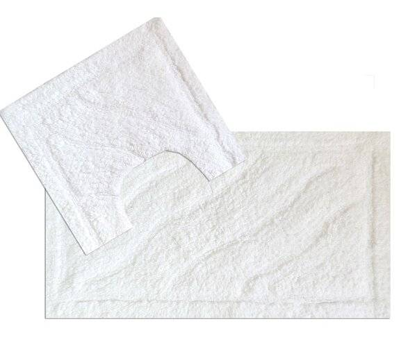 Luxurious 2 Piece Cotton Bath Mat and Pedestal Set - White