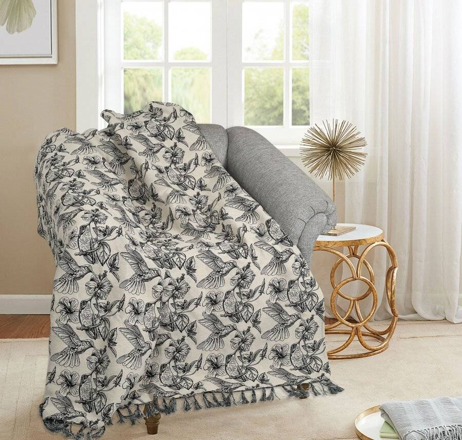 EHC Hummingbird Throw For Armchair and Single Bed, Black/Natural