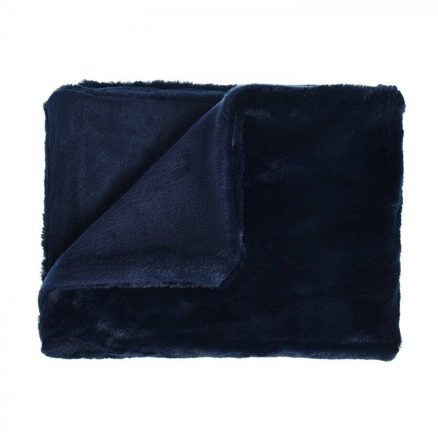 Luxurious Super Soft Snuggle Blanket Throw For Sofa, 127 x 152cm-Navy Blue