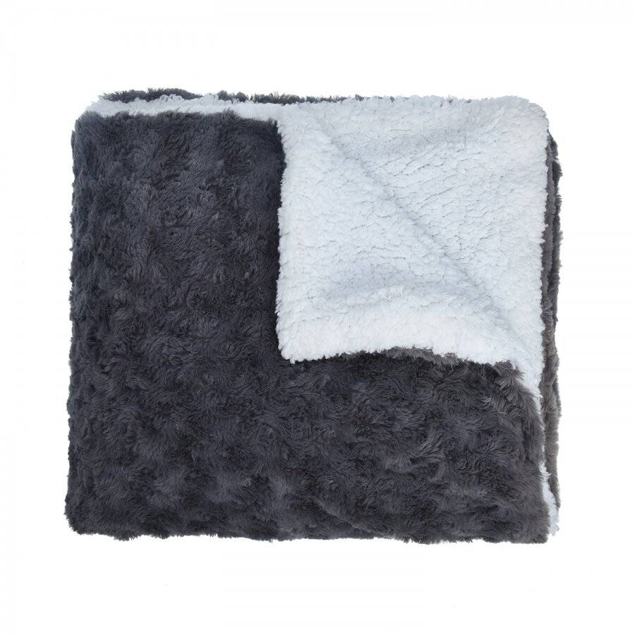 EHC Super Soft & Warm Sherpa Throw For Armchair or Single Bed - Grey