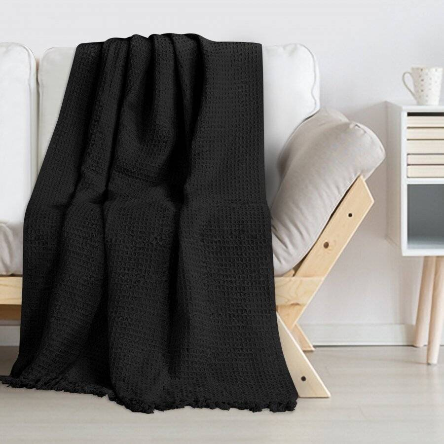 Luxurious Waffle Throws for Sofa Armchair or Single Bed - Black