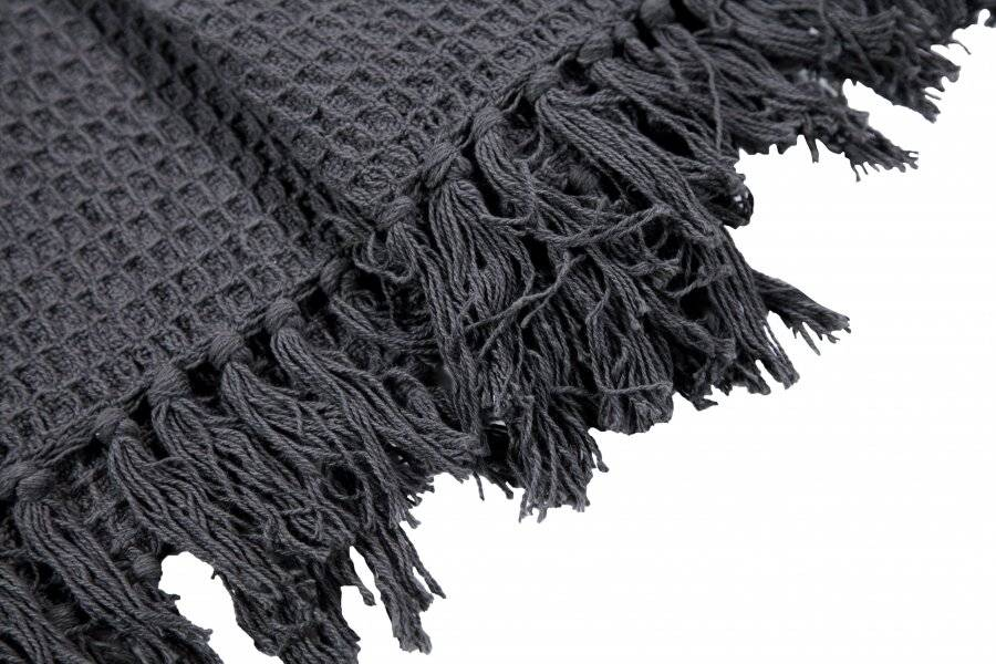Luxurious Waffle Throws for Sofa Armchair or Single Bed - Charcoal