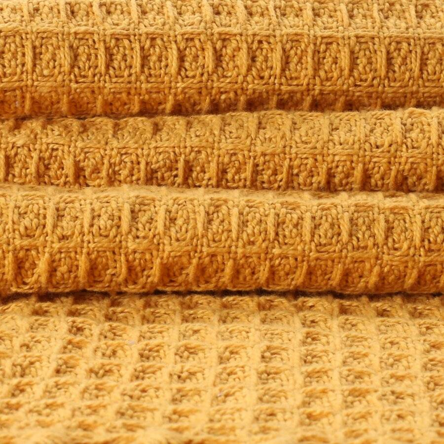 Luxurious Waffle Throws For Sofa Armchair or Single Bed- Ochre