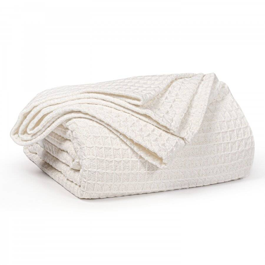 Luxuriously Soft Cotton Waffle Throws, King Size- Ivory