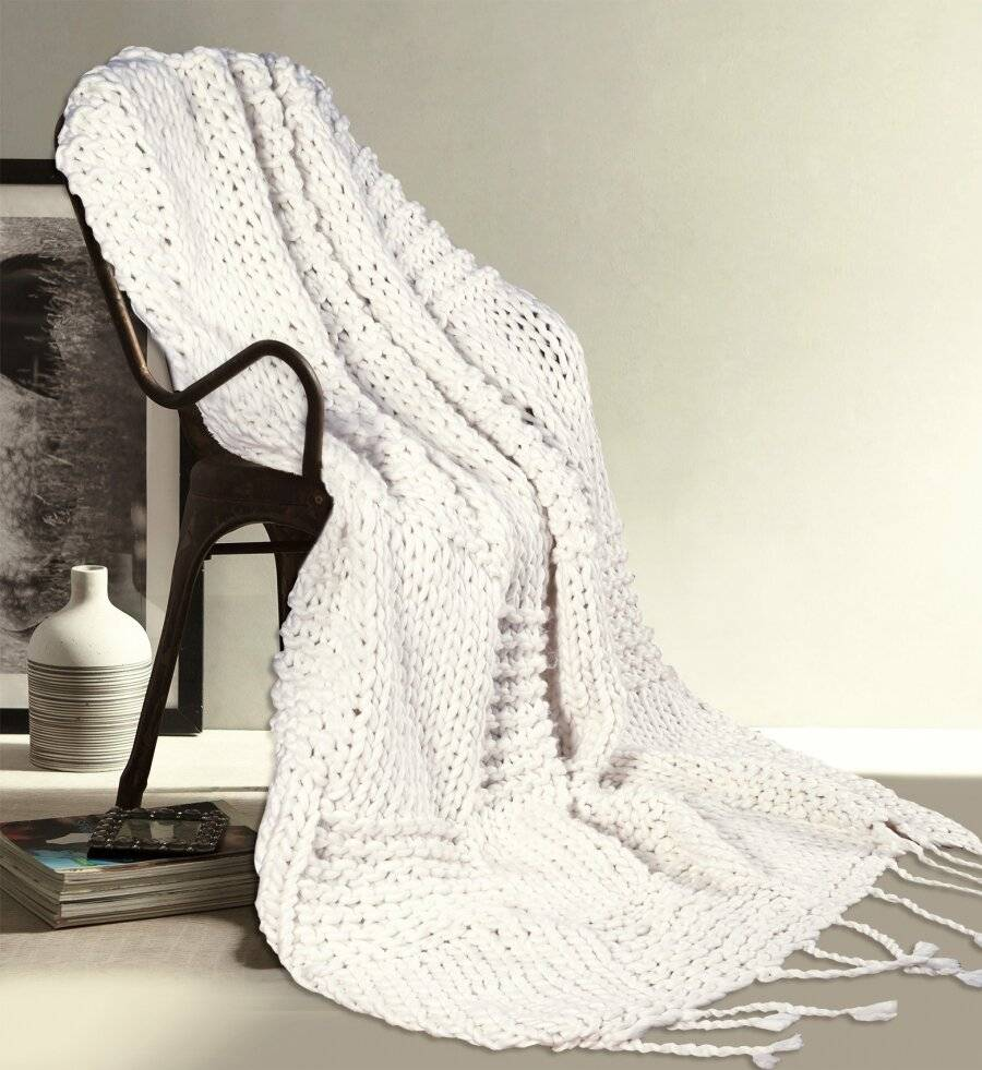Luxurious & Soft Hand Knitted Cotton Throw - Ivory (120 X 150 cm)