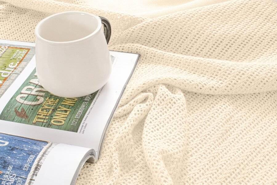 Luxury Handwoven Cotton Adult Cellular Blanket, Double - Cream